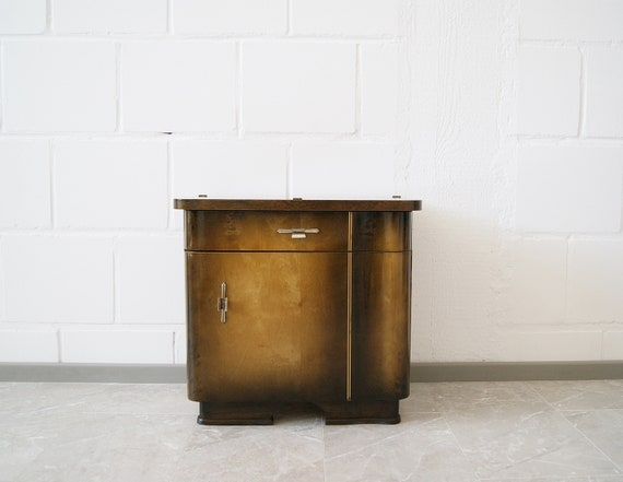Art Deco nightstand, small chest of drawers, bedside table brown 1930s