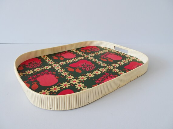 Serving tray with handle in green red and floral and fruit decor, Mid Century tray, serving supplies, table decoration