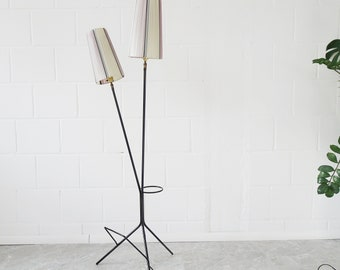 French Tripod metal floor lamp with newspaper holder and flower pot stand, two-flame floor lamp 1950s