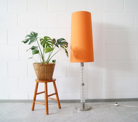 Floor lamp 70s with chrome and glass and orange lampshade, indirect lighting, accent lamp
