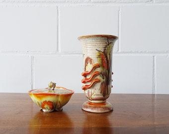 Vintage ceramic set, Art Deco Steuler lid trousers and Dümler Breiden vase with running glaze in orange yellow