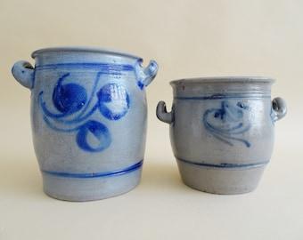 Sauerkraut pot set, old clay pot, kitchen storage, salt-smoothed stoneware