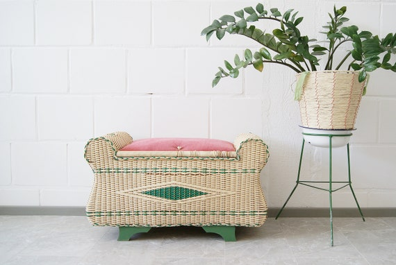 Mid Century Laundry Chest, Upholstered Bench with Storage