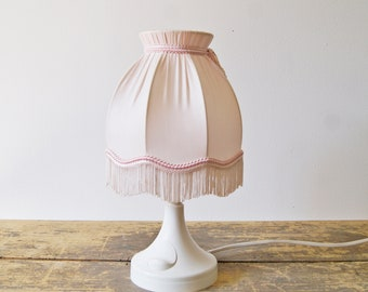 Table Lamp white pink plastic, night lamp 1960s