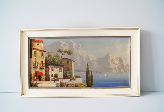Oil painting mountains lake landscape, oil on canvas mid century