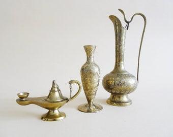 Indian Vintage Brass Vases with Aladin Lamp, Set of 3