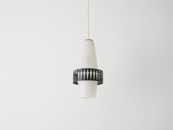 Pendant light mid century, big 50s glass pendant lamp
