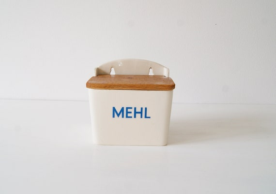 Mehldose of Villeroy & Boch made of porcelain and wood, old supply box, flour storage, kitchen storage