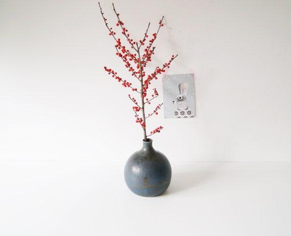 Blue Ceramic vase, Kugelvase, table decoration Autumn