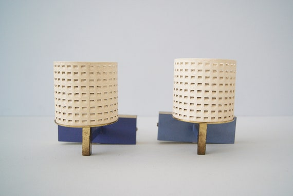 Sconces Set 1950s brass and metal in purple beige with shrink lacquer and perforated metal sheet, Mid Century wall lights