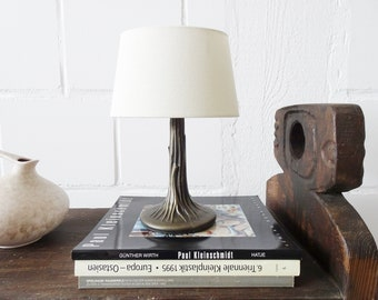 sculptural brass table lamp by Honsel leuchten with beige fabric shade