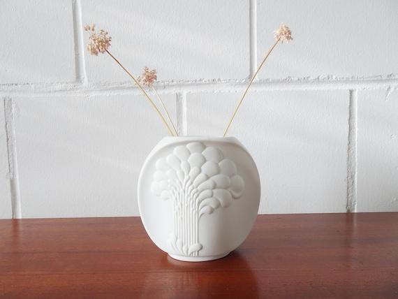 AK Kaiser Biscuit Porcelain Vase Design M. Frey, White Vase with Tree Relief