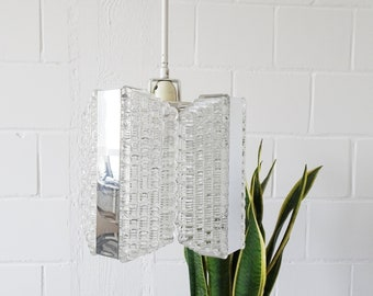 Kaiser Luminaire ceiling lamp, Modernist glass pendant lamp made of metal and gals