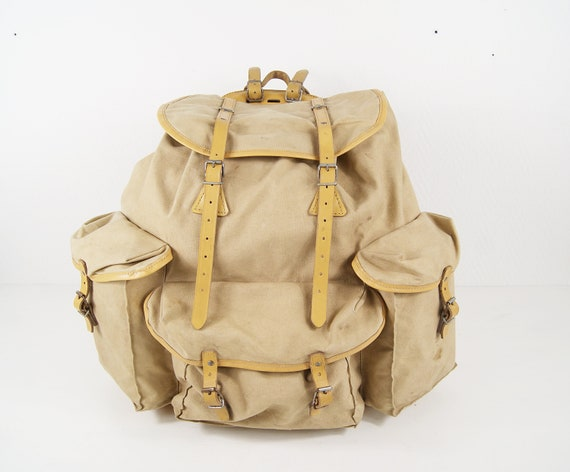 French hiking backpack by Lafuma made of linen and metal frame, backpack Mid Century