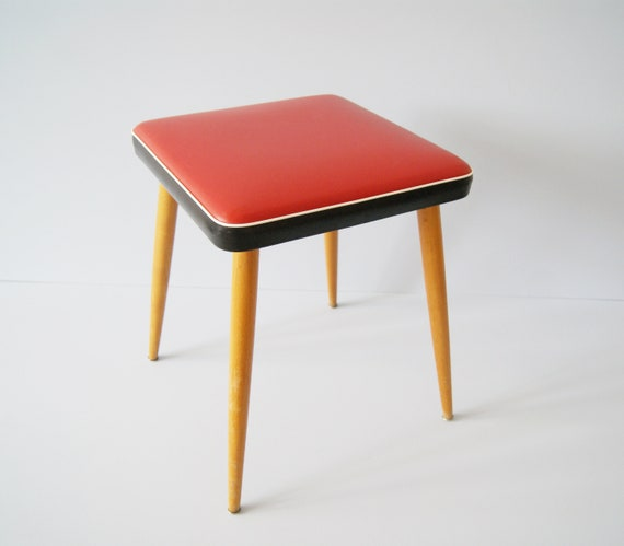 square stool from the 50s, wooden stool, cocktail chair