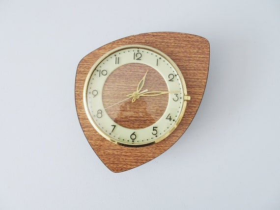 French Formica Wall Clock Mid Century, Watch kidney shape light function, Resopal clock