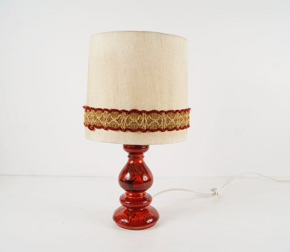 Mid Century Ceramic Table Lamp Red, Fat Lava, bedside Lamp, Table Lamp, Indirect Lighting