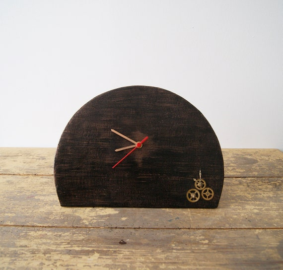 Table clock papier mache handmade in bronze optics, mantel clock, clock