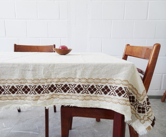 large woven tablecloth in beige brown 152 cm x 117 cm, cream-colored table linen