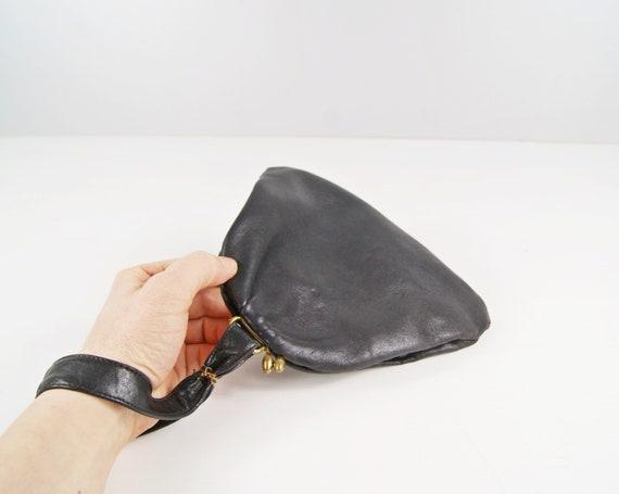 small Art Deco handbag made of soft leather, black evening bag with hand strap