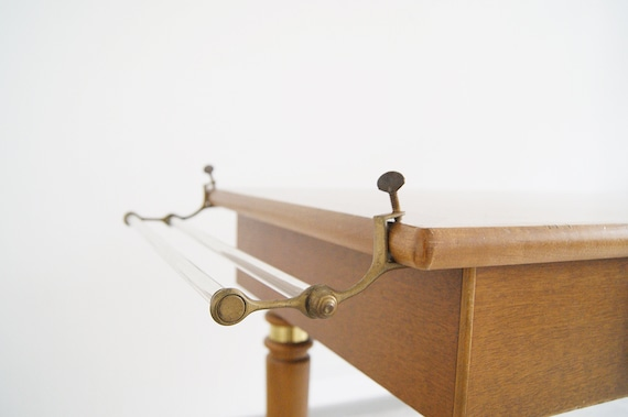 Towel rail made of glass and brass for clamping, Art Deco rail bracket glass