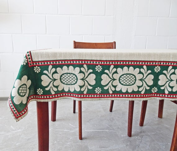Tablecloth woven creamy, green, red with floral pattern 147 cm x 124 cm, reversible tablecloth