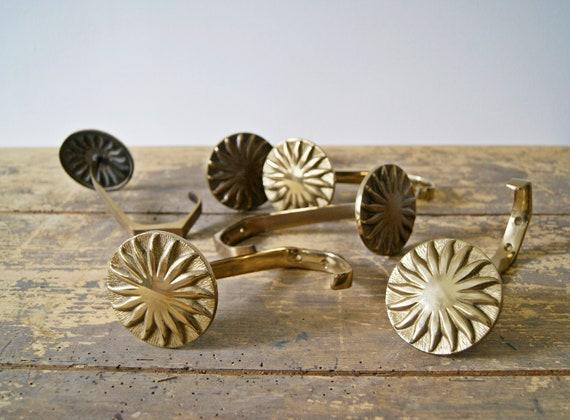 Brass wall hook with sun relief, coat hooks, golden hooks