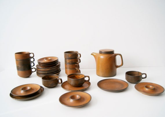 Coffee service 28 pieces of ceramic work Heister wood design Heinz Engler Sompex Tekton 200, German ceramics, coffee service