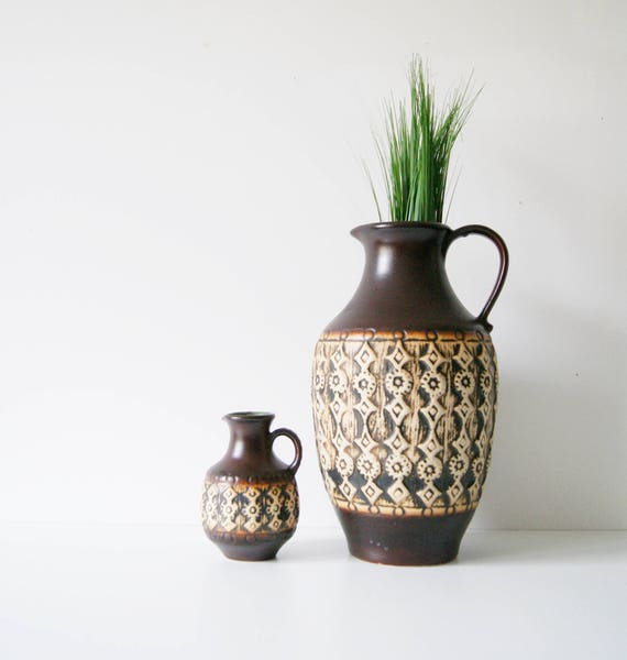 Vase set, JASBA vases, ceramic vase, jug vases, mid century ceramics, vase brown