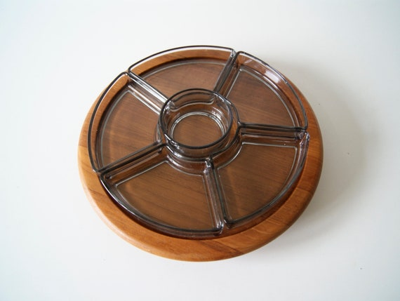 Scandinavian serving bowl by Digsmed made of teak with glass inserts