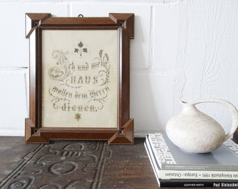 antique embroidery picture with believing saying, Gründerzeit picture frame