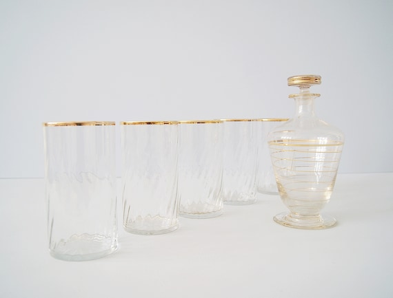 Glasses Set with Decanter 1950s, Mid Century Bar Set