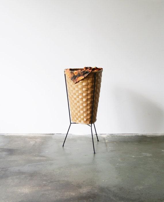 large rattan sewing basket three-legged in string design, storage handmade