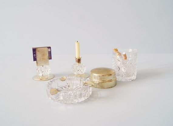 Smoker set of glass 1950s, table decoration, candle holder, ashtray