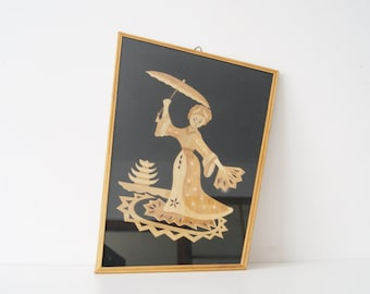 '50s picture made of straw, mural Japanese, geisha picture