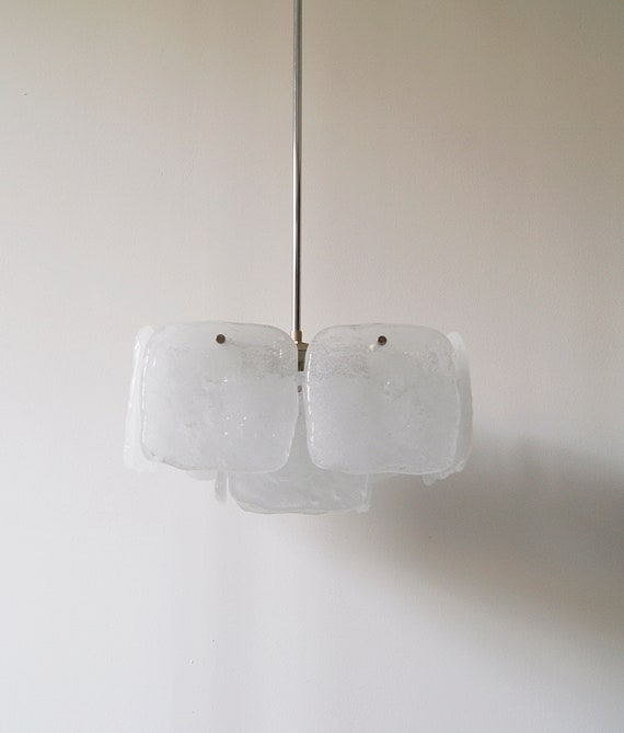 Chandelier by Kalmar, model stone ice glass, 1960s Austria, chandelier mid century