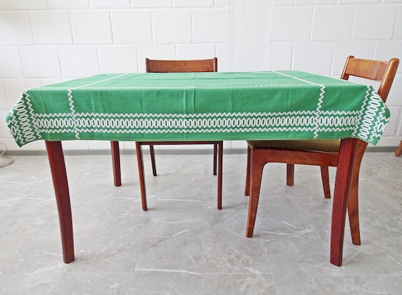 green linen tablecloth Mid Century, cotton table runner with embroidery 135 cm x 112 cm