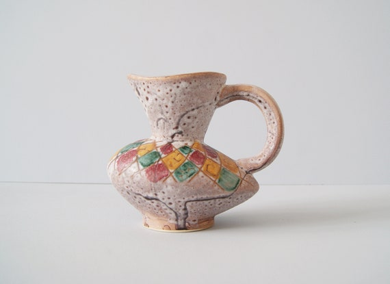1950s vase with handle, handle vase, mid century pottery