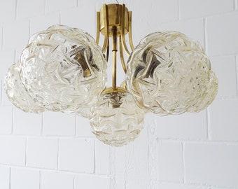 golden Sputnik ceiling lamp, chandelier in glass and brass