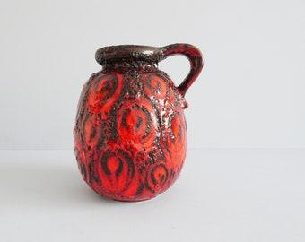 large vintage vase by Scheurich in red black Fat Lava glaze, bulbous ceramic vase