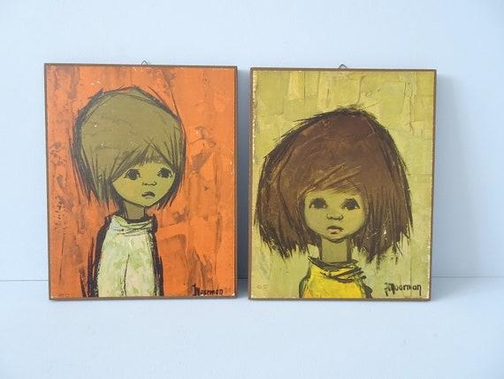 Art Print Jaklien Moerman 1960s, Children's Pictures Set, Picture on Wood, Nursery Decoration