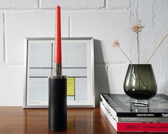 minimalist candlestick made of black teak wood 1960s