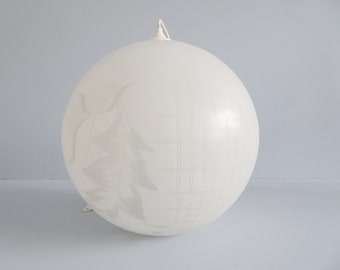 Glass ball hanging lamp in white etched glass, pendant lamp Mid Century x 35 cm