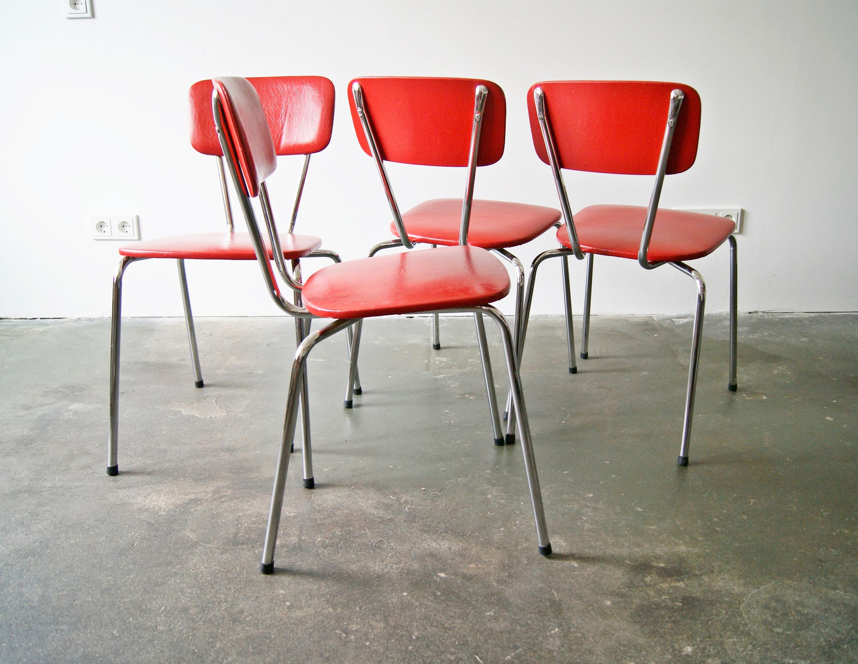 Satz rote Stühle aus Chrom Küchenstühle Beistellstuhl | Etsy