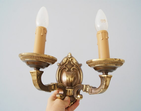 Wall lamps set in brass, Mid Century wall lamps