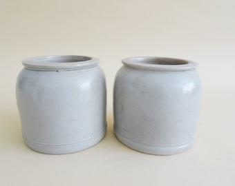 Set of two salt glazed stoneware pots, ceramic planting pot, kitchens storage