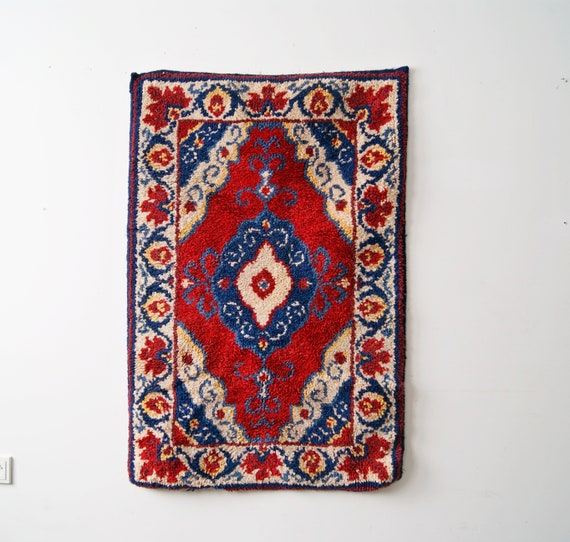 red blue rug, tapestry, wall hanging