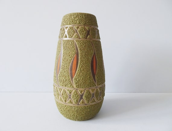 green vase with structure, Mid Century Fat Lava flower vase
