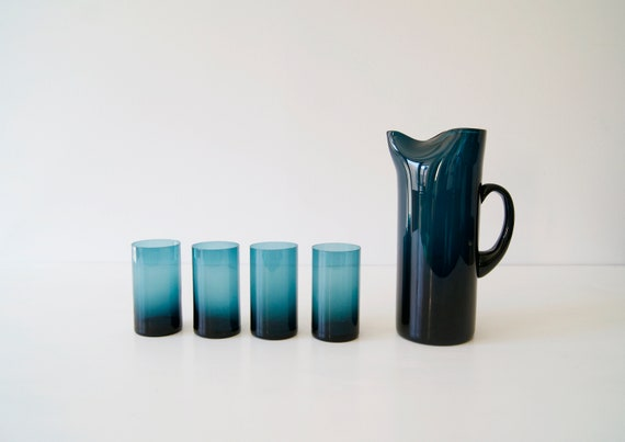 Glass jug with glasses by Gunnar Ander for Landhammar Sweden, water pitcher, carafe, water glasses