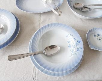 Vintage service tableware by Christineholm porcelain with bellflower décor